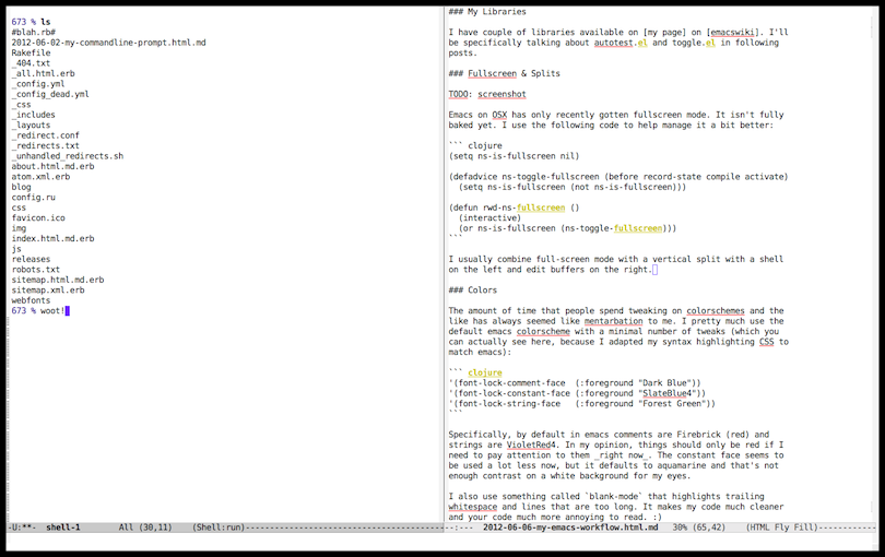 emacs fullscreen and split